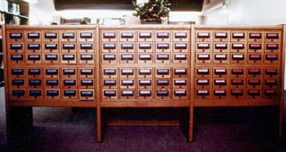 Cabinet of microfilm