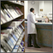 Medical student at library